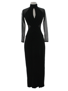 1990's Womens Designer Wicked 90s Body Con Maxi Prom Or Cocktail Dress