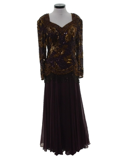 1990's Womens Wicked 90s Beaded and Sequined Maxi Prom Or Cocktail Dress