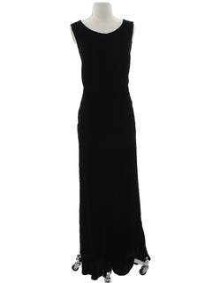 1970's Womens Maxi Wiggle Velvet Cocktail Dress