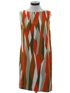 1960's Womens Mod Op-Art Dress