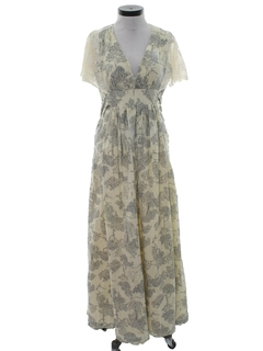 1970's Womens Maxi Prairie Hippie Dress