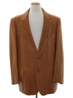 1970's Mens Leather Blazer Sport Coat JacketJacket