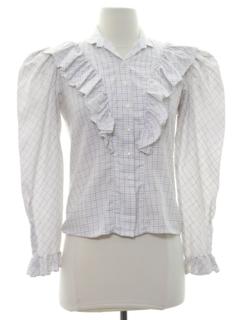 1980's Womens Ruffled Front  Prairie Style Secretary Shirt