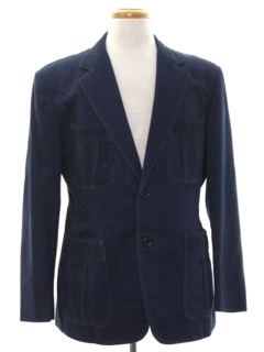 1970's Mens Denim Disco Blazer Sportcoat Jacket