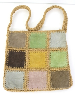 1960's Womens Accessories - Suede Macrame Hippie Purse