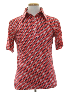 1960's Mens Resort Wear Style Print Disco Shirt