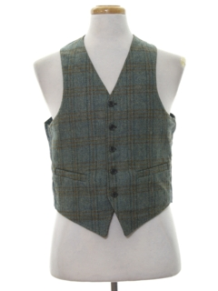 1960's Mens Mod Reversible Wool Suit Vest