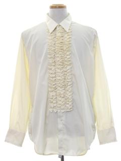 1970's Mens Ruffled Tuxedo Shirt