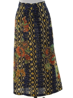 1970's Womens Hippie Maxi Wrap Skirt