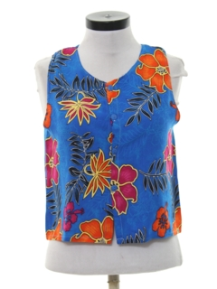 1980's Womens Hawaiian Style Crop Top Shirt