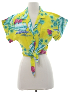 1980's Womens Totally 80s Cropped Hawaiian Shirt