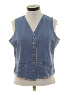 1980's Womens Denim Hippie Vest Style Shirt