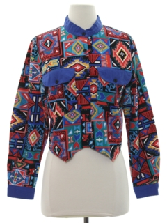 1990's Womens Geometric Print Western Shirt