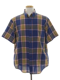 1980's Mens Totally 80s Plaid Preppy Shirt