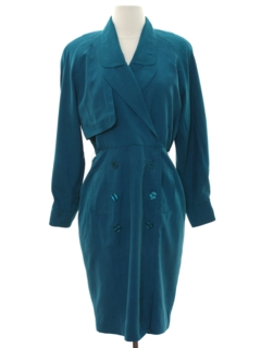 1980's Womens Totally 80s Secretary Style Dress