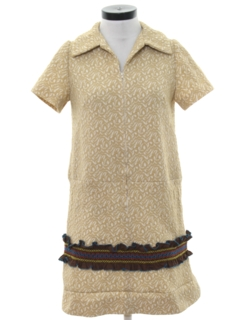 1970's Womens Mod Knit Shift Mini Dress