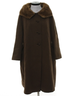 1950's Womens Wool and Fur Duster Jacket