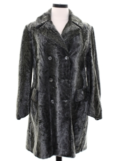 1960's Womens Faux Fur Double Breasted Duster Coat Jacket