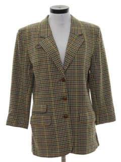 1980's Womens Wool Boyfriend Style Blazer Sport Coat Jacket