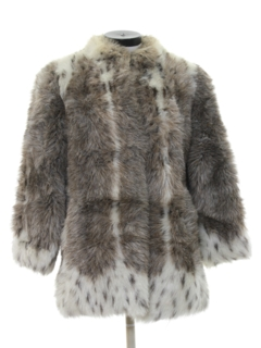1980's Womens Totally 80s Faux Fur Coat Jacket