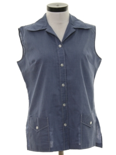 1970's Womens Chambray Sleeveless Shirt