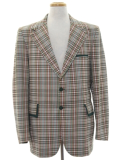 1970's Mens Corduroy Plaid Disco Blazer Sport Coat Jacket