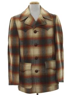 1960's Mens Mod Pendleton Western Car Coat Jacket