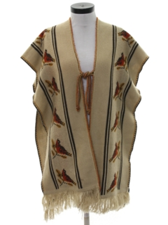 1970's Unisex Hippie Poncho Style Jacket