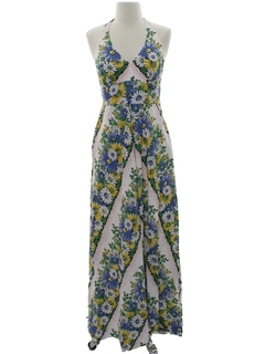 1970's Womens Hippie Maxi Halter Dress