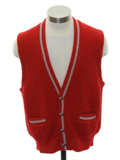 1950's Mens Mod Letterman Style Sweater Vest