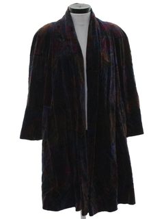 1980's Womens Totally 80s Velvet Duster Coat Jacket