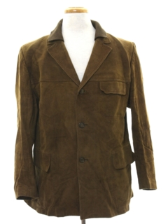 1960's Mens Mod Suede Leather Car Coat Jacket