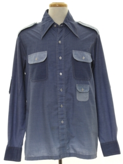 1970's Mens Chambray Safari Shirt