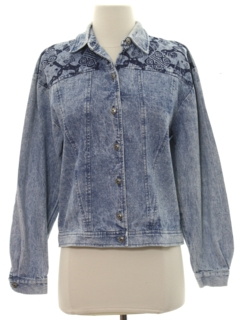 1980's Womens Totally 80s Acid Washed Denim Shirt