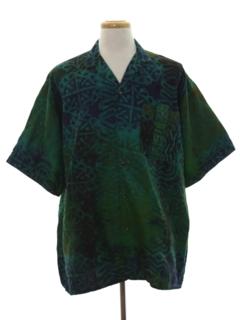 1980's Mens Batik Print Sport Shirt