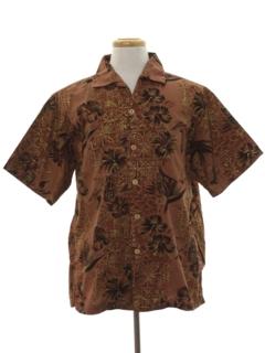 1960's Mens Tiki Print Hawaiian Shirt