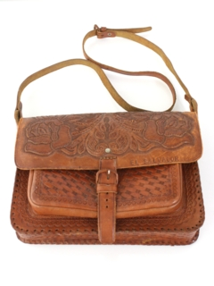1980's Womens Accessories - Tooled Leather Hippie Purse