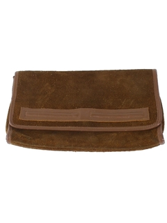 1970's Womens Accessories - Envelope Style Suede Leather Clutch Purse