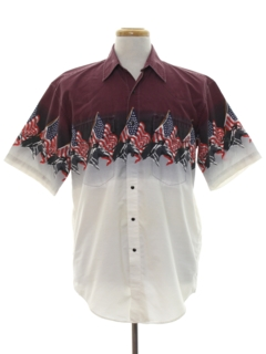 1990's Mens Patriotic Western Shirt
