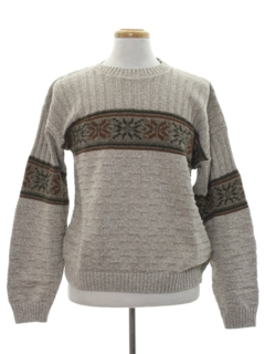 1990's Mens Vintage Snowflake Sweater