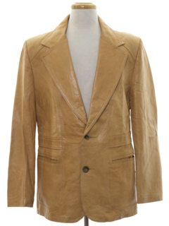 1970's Mens Western Leather Blazer Sport Coat Jacket