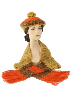 1960's Womens Accessories - Mod Knit Hat And Scarf Set