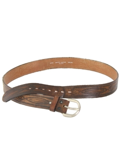 1980's Mens Accessories - Tooled Leather Hippie Belt