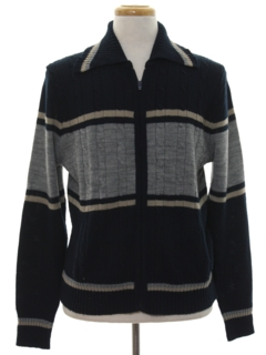1970's Mens Mod Zip Front Sweater