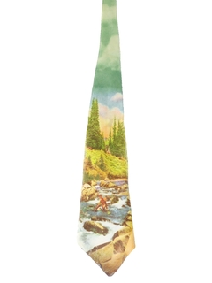 1940's Mens Photo Print Wide Swing Necktie
