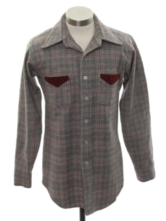 1970's Mens Wool Plaid Western Style Shirt