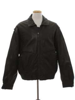 1990's Mens Leather Bomber Style Jacket