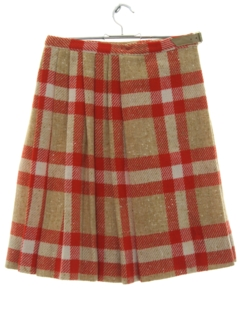 1970's Womens Mod Plaid Kilt Skirt