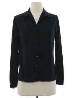 1970's Womens Solid Disco Style Shirt