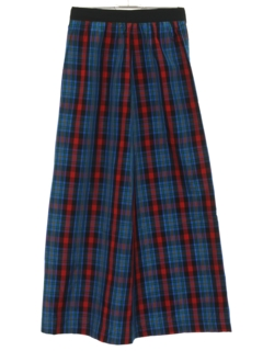1970's Womens Plaid Maxi Skirt